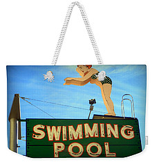 Vintage Swimming Lady Hotel Sign Weekender Tote Bag
