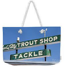 Vintage Trout Shop Sign West Yellowstone Weekender Tote Bag