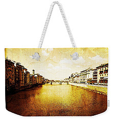 Vintage View Of River Arno Weekender Tote Bag