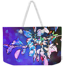 Weekender Tote Bag featuring the photograph Violet Illumination by Shawna Rowe