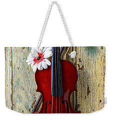 Violin On Old Door Weekender Tote Bag