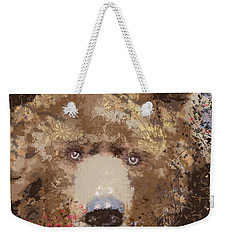 Weekender Tote Bag featuring the mixed media Visionary Bear by Kim Prowse