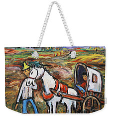 Weekender Tote Bag featuring the painting Visit The In-laws by Xueling Zou