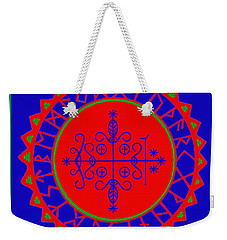 Weekender Tote Bag featuring the digital art Voodoo Veve  As Above So Below by Vagabond Folk Art - Virginia Vivier