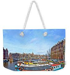 Weekender Tote Bag featuring the photograph Waalseilandgracht Amsterdam by Frans Blok