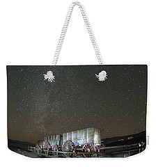 Wagon Train Under Night Sky Weekender Tote Bag