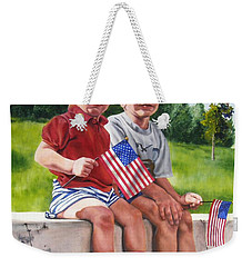 Weekender Tote Bag featuring the painting Waiting For The Parade by Lori Brackett