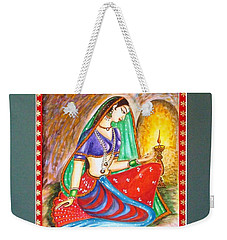 Weekender Tote Bag featuring the painting Waiting  by Harsh Malik