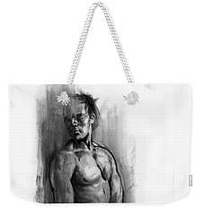 Weekender Tote Bag featuring the drawing Waiting by Paul Davenport