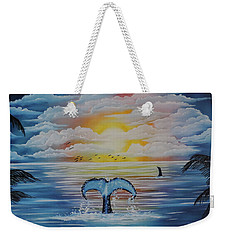 Weekender Tote Bag featuring the painting Wale Tales by Dianna Lewis