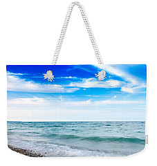 Weekender Tote Bag featuring the photograph Walking The Shore - Extended by Steven Santamour