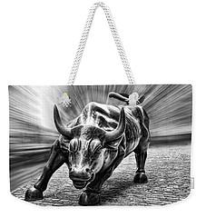 Wall Street Bull Black And White Weekender Tote Bag by Wes and Dotty Weber