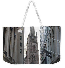 Wall Street Leading To Trinity Church Weekender Tote Bag