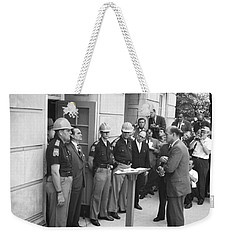 Wallace Blocks Integration Weekender Tote Bag by Warren K Leffler