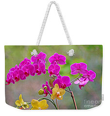 Warbler Posing In Orchids Weekender Tote Bag by Luana K Perez