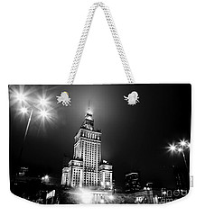 Warsaw Poland Downtown Skyline At Night Weekender Tote Bag