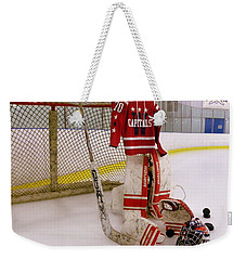 Weekender Tote Bag featuring the photograph Washington Capitals Braden Holtby Winter Classic 2015 Jersey by Lisa Wooten