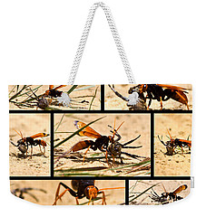 Weekender Tote Bag featuring the photograph Wasp And His Kill by Miroslava Jurcik