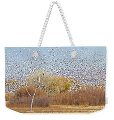 Weekender Tote Bag featuring the photograph Watching Over The Flock by Bryan Keil