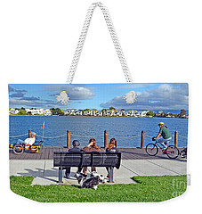 Watching The Bikes Go By At Congressman Leo Ryan's Memorial Park Weekender Tote Bag by Jim Fitzpatrick