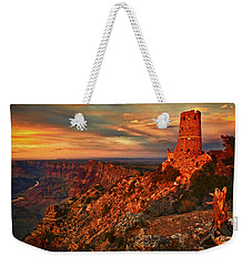 Weekender Tote Bag featuring the photograph Watchtower Sunset by Priscilla Burgers