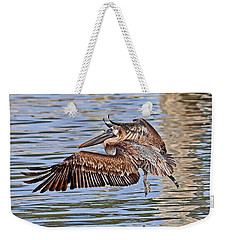 Weekender Tote Bag featuring the photograph Water Ballet - Brown Pelican by HH Photography of Florida