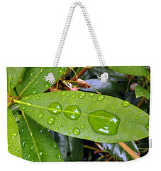 Water Droplets On Leaf Weekender Tote Bag