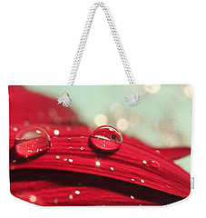 Water Drops And Glitter Weekender Tote Bag by Angela Murdock