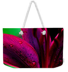 Water-drops On The Petal Weekender Tote Bag by Shelby  Young