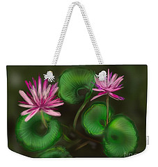 Weekender Tote Bag featuring the digital art Water Lilies by Christine Fournier