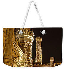 Weekender Tote Bag featuring the photograph Water Tower At Night by Daniel Sheldon