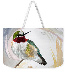 Weekender Tote Bag featuring the painting Watercolor - Broad-tailed Hummingbird by Cascade Colors