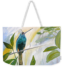 Weekender Tote Bag featuring the painting Watercolor - Jacamar In The Rainforest by Cascade Colors