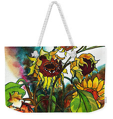 Sunflowers On The Rise Weekender Tote Bag by Kathy Braud