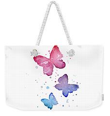 Watercolor Butterflies Weekender Tote Bag by Olga Shvartsur
