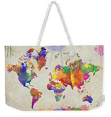 Watercolor Impression World Map Weekender Tote Bag