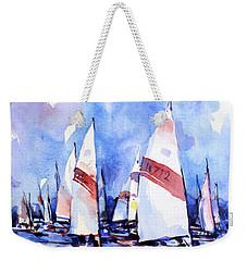 Watercolor Of Scow Boats Racing Torch Lake Mi Weekender Tote Bag