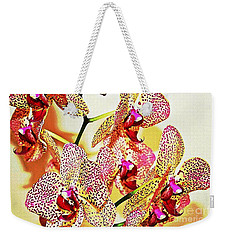 Weekender Tote Bag featuring the photograph Watercolor Orchid Shadows by Judy Palkimas