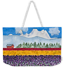 Watercolor Painting Landscape Of Skagit Valley Tulip Fields Art Weekender Tote Bag