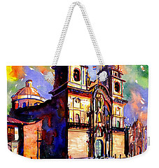Watercolor Painting Of Church On The Plaza De Armas Cusco Peru Weekender Tote Bag