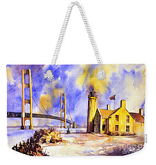 Watercolor Painting Of Ligthouse On Mackinaw Island- Michigan Weekender Tote Bag