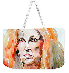Weekender Tote Bag featuring the painting Watercolor Portrait Of A Mad Redhead by Greta Corens
