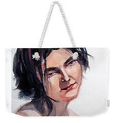 Watercolor Portrait Of A Young Pensive Woman With Headband Weekender Tote Bag