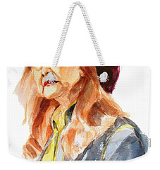 Weekender Tote Bag featuring the painting Watercolor Portrait Of An Old Lady by Greta Corens