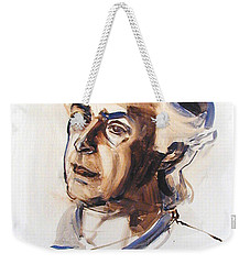 Weekender Tote Bag featuring the painting Watercolor Portrait Sketch Of A Man In Monochrome by Greta Corens
