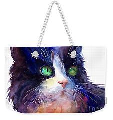 Watercolor Tuxedo Tubby Cat Weekender Tote Bag