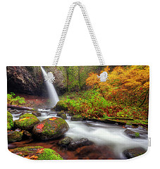 Waterfall With Autumn Colors Weekender Tote Bag