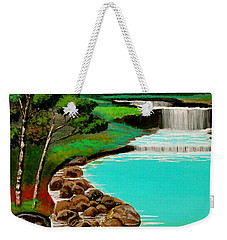 Weekender Tote Bag featuring the painting Waterfalls by Cyril Maza