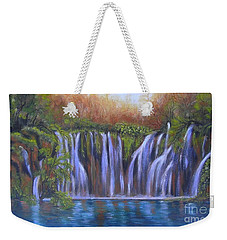 Weekender Tote Bag featuring the painting Waterfalls - Plitvice Lakes by Vesna Martinjak