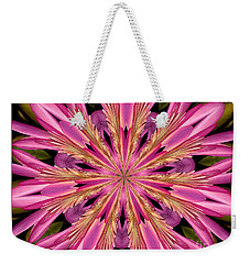 Weekender Tote Bag featuring the photograph Waterlily Flower Kaleidoscope 4 by Rose Santuci-Sofranko